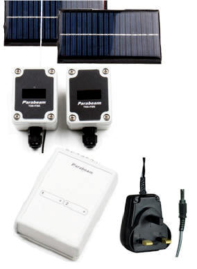 Parabeam Wireless Driveway / Perimeter Alert System - 1 x Solar Recharging Point to Point Infrared Beam + 2 Zone Long Range Wireless Base Receiver